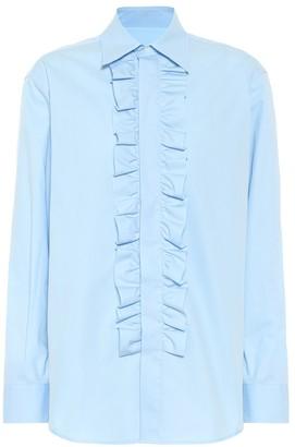 AMI Paris Ruffled cotton poplin shirt