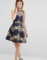 AX Paris Printer Skater Dress With Mesh Top