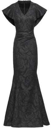 Talbot Runhof Cape-effect Jacquard Gown
