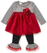 Bonnie Jean Little Girls 2T-6X Striped-Floral Applique Top & Pants Set