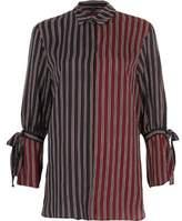 River Island Womens Navy and red split stripe tie cuff shirt