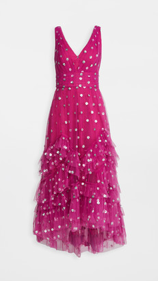 Marchesa Notte Sequin Dot Tulle Ruffle Midi Dress