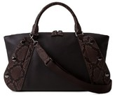Akris Small Aimee Leather & Genuine Python Convertible Satchel - Black