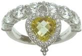 Judith Ripka Sterling Heart Dangle Canary Diamonique Ring