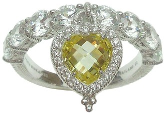 Judith Ripka Sterling Heart Dangle Canary Diamonique Ring