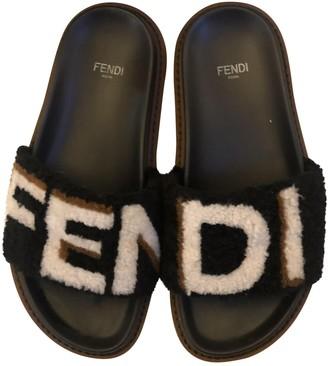 Fendi Black Shearling Sandals