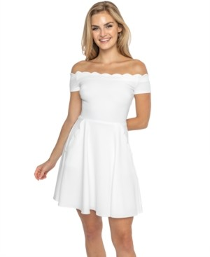 B. Darlin Juniors' Scalloped Off-The-Shoulder Dress