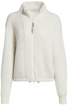 Brunello Cucinelli Zip-Front Ribbed Sweater
