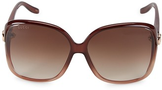 Gucci 60MM Shiny Brow Sunglasses