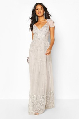 boohoo Bridesmaid Bow Strap Hand Embellished Maxi