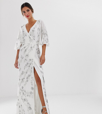 Maya wrap front floral embellished maxi dress in white