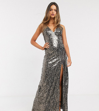 Little Mistress Tall strappy sequin maxi gown in copper