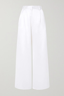 Michael Lo Sordo Belle Silk-satin Wide-leg Pants - White