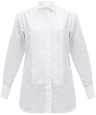 Victoria Beckham Basketweave-bib Cotton-faille Tuxedo Shirt - Cream