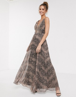 Forever U metallic plunge front maxi dress in snake print