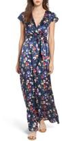 Tularosa Women's Floral Satin Faux Wrap Maxi Dress