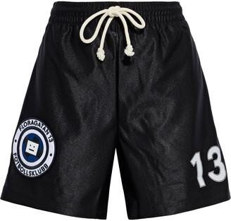 Acne Studios Fotbollsklubb Appliqued Satin-shell Shorts