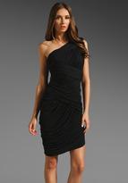 Halston Heritage One Shoulder Chiffon Jersey Dress