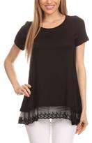 Blvd Black Lace-Hem Hi-Low Tunic