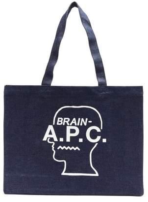 A.P.C. X Brain Dead Logo Print Denim Tote Bag - Mens - Blue Multi