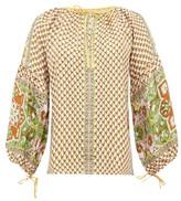 D'Ascoli Byzantium Graphic-print Silk-faille Blouse - Womens - Yellow Multi