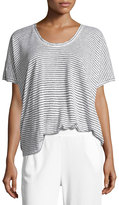 ATM Anthony Thomas Melillo Short-Sleeve Striped Linen Tee, White/Black