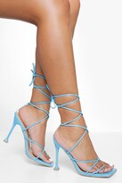 Thumbnail for your product : boohoo Square Toe Wrap Up Sandal
