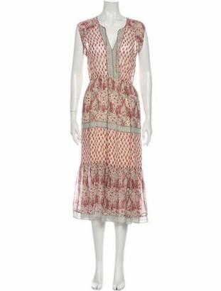 Ulla Johnson Silk Midi Length Dress Red