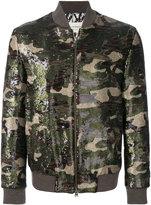 Etro sequin camouflage bomber jacket