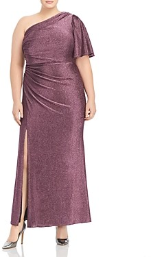 Adrianna Papell Plus Metallic Jersey Gown