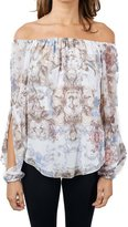 Joseph Ribkoff Open Shoulder & Arms Paisley Print Elastic Top Style 172601
