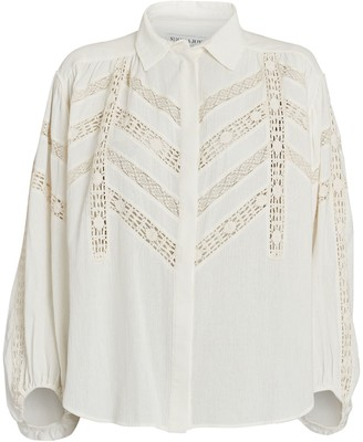 Shona Joy Chloe Lace-Trimmed Cotton Blouse