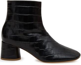 Mansur Gavriel Croc Embossed Soft Boot - Black