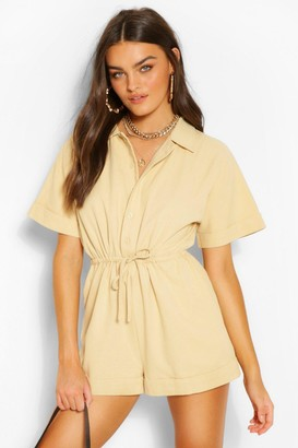 boohoo Woven Short Sleeve Drawstring Utility Playsuit