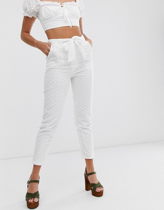 In The Style x Dani Dyer lace tailored pants in white