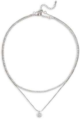 Cezanne Silvertone Crystal 2-Row Necklace