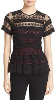 Parker 'Shannon' Beaded Lace Peplum Top