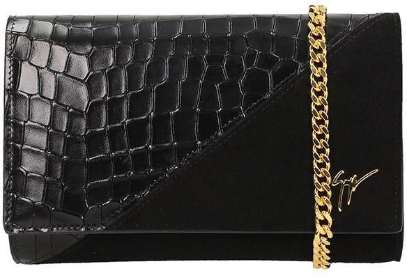 Giuseppe Zanotti Black Suede And Crocodile Embossed Calfskin Leather Clutch