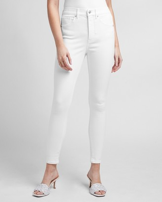 Express High Waisted White Skinny Jeans