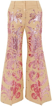 Valentino Sequin-embellished Wool And Silk-blend Flared Pants