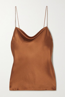 CAMI NYC The Axel Draped Stretch-silk Charmeuse Camisole - Brown