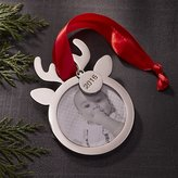 Crate & Barrel Silver Reindeer Photo Frame Ornament with 2016 Charm