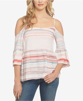 1 STATE 1.STATE Striped Ruffled Cold-Shoulder Top