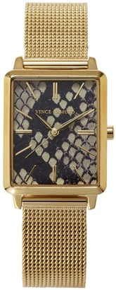 Vince Camuto Snake-print-dial Square Watch