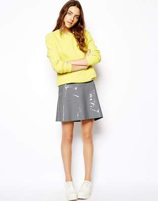 Asos Design A-Line Skirt In Patent PU-Grey