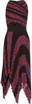 Proenza Schouler Asymmetric Cutout Printed Plissé-cloqué Dress - Tomato red