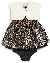 Petit Lem Baby Girls Faux Fur Bolero, Dress and Bloomers Set