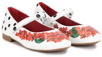 Dolce & Gabbana Floral And Polka Dot Ballerina Shoes