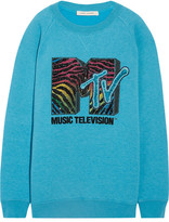 Marc Jacobs Oversized Sequin-embellished Jersey Sweatshirt - Turquoise