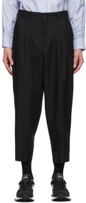 Comme des Garçons Homme Deux Black Wool Mix Stripe Trousers